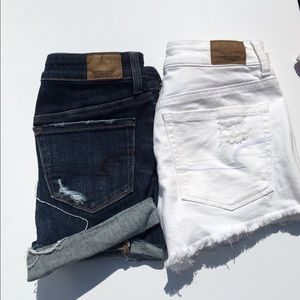 American Eagle Lot of 2 Ripped Jean Shorts White